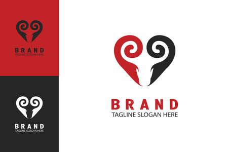 Ram logo heart shape design concept in negative space, unique simple and minimalist logo. 向量圖像