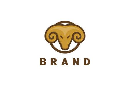 Ram head logo, simple and minimalist logo design.