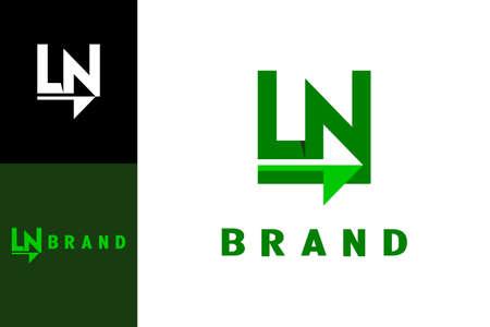 Letter LN icon with arrow design concept, modern and creative design. Vektoros illusztráció