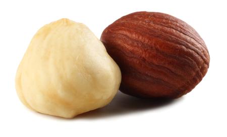 two hazelnuts isolated on a white background. macro