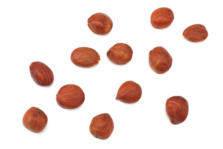 hazelnuts isolated on a white background. top view