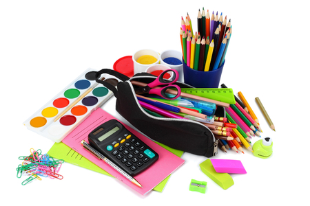 school and office supplies. school background. colored pencils, pen, pains, paper for  school and student education isolated on white background