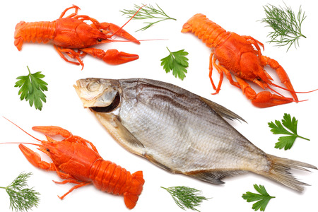 crawfish with dried fish isolated on white background. Stock Photo