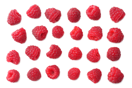 ripe raspberries isolated on white background. top view Banco de Imagens