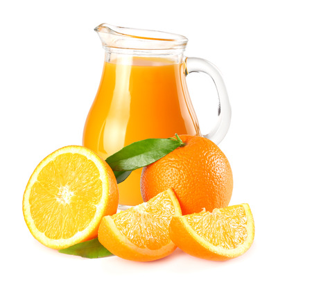 orange juice with orange and green leaf isolated on white background. juice in jug
