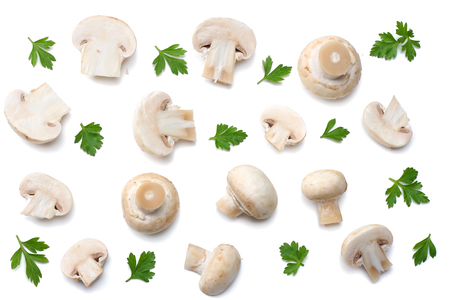 mushrooms with parsley isolated on white background. top view