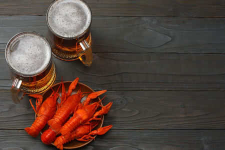 Glass beer with crawfish on dark wooden background. Beer brewery concept. Beer background. top view with copy space
