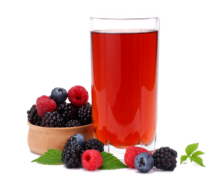 glass of blackberry juice isolated on white background.
