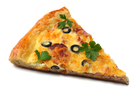 Piece of pizza with olives isolated on white background. top view 免版税图像