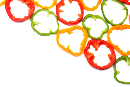 sliced sweet bell pepper isolated on white background. top view