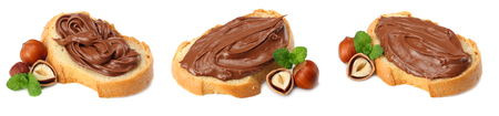 Slice of bread with chocolate cream with hazelnut isolated on white background. chocolate cream collection 版權商用圖片