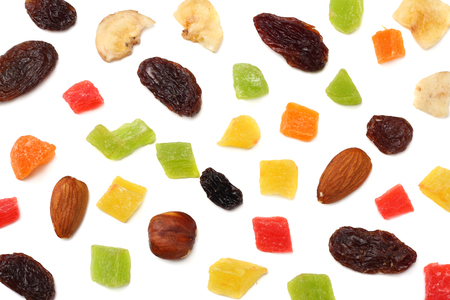 candied fruits mix with raisins, almonds, hazelnut. muesli. healthy food. fitness food. top view