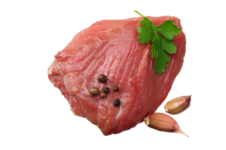 Raw beef meat isolated on white background. top view Stok Fotoğraf