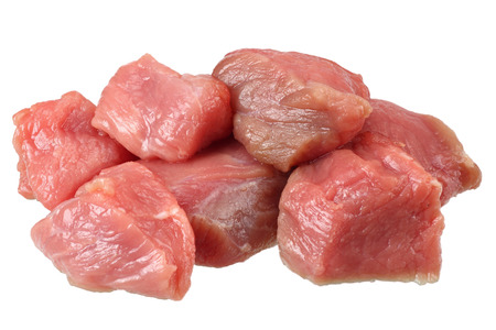 pieces of raw beef meat isolated on white background