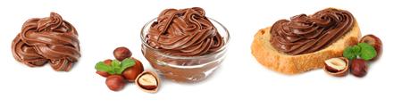 chocolate cream with hazelnut isolated on white background. chocolate cream collection. set.