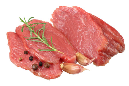 Raw beef meat isolated on white background Stok Fotoğraf