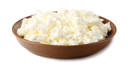 cottage cheese in brown bowl isolated on white background Archivio Fotografico