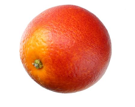 one red blood orange fruit isolated on white background