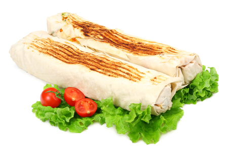 shawarma with lettuce isolated on white background. fast food