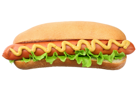 Hot dog grill with lettuce and mustard isolated on white background. fast food. Stockfoto