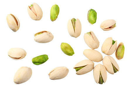 pistachio isolated on the white background. top view Фото со стока