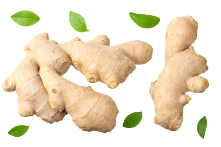 ginger root isolated on white background top view