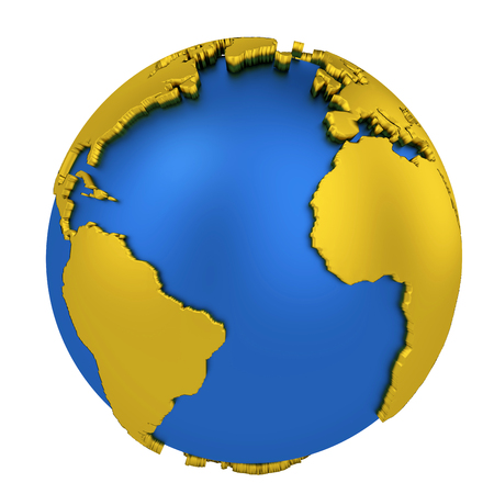 Earth globe with yellow continents isolated on white background. World Map. 3D rendering illustration.