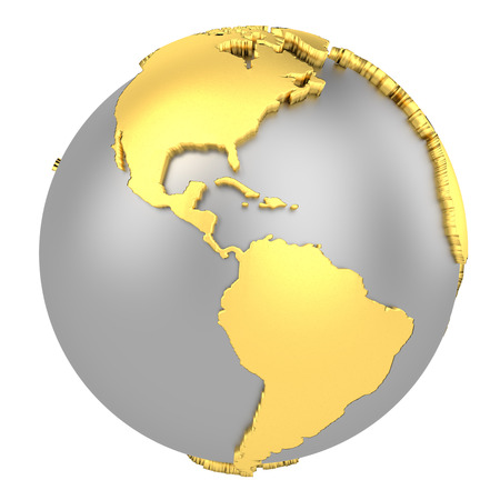 Earth globe with golden continents isolated on white background. World Map. 3D rendering illustration.