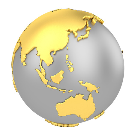 Earth globe with golden continents isolated on white background. World Map. 3D rendering illustration. Stockfoto - 122557353
