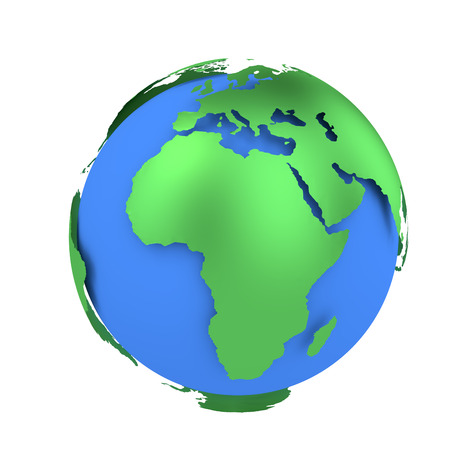 Earth globe with green continents isolated on white background. World Map. 3D rendering illustration. Stockfoto - 122557354