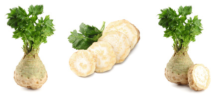 celery collection. celery root with leaf isolated on white background. Celery isolated on white. Healthy Stockfoto