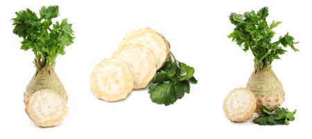 Sellerie Sammlung. Selleriewurzel mit Blatt auf weißem Hintergrund. Sellerie getrennt auf Weiß. Gesund