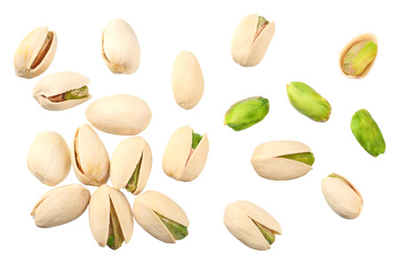 pistachio isolated on the white background. top view Stock Photo