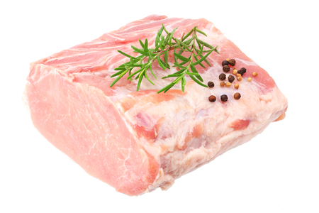 Raw pork meat isolated on white background