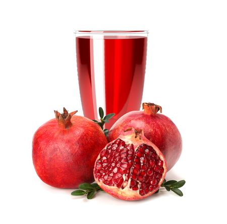 pomegranate juice splash isolated on a white background. Glass of pomegranate juice. Фото со стока - 124562914