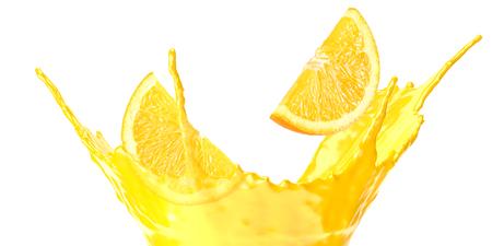 orange juice splash isolated on white background. orange juice with orange slice