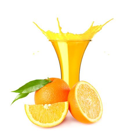 orange juice splash isolated on white background. orange juice in glass with orange slice
