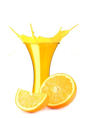 orange juice splash isolated on white background. orange juice in glass with orange slice Фото со стока - 124563172