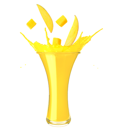 mango juice splash isolated on white background. mango juice in glass with mango slice Фото со стока