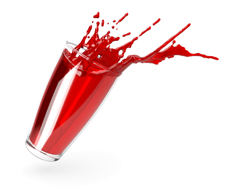 pomegranate juice splash isolated on a white background. Glass of pomegranate juice. Фото со стока - 124563194
