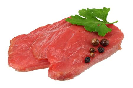 Raw beef meat isolated on white background Stock Photo