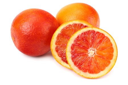 Red blood orange fruit with slices isolated on white background