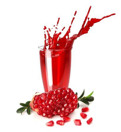 pomegranate juice splash isolated on a white background. Glass of pomegranate juice. Фото со стока