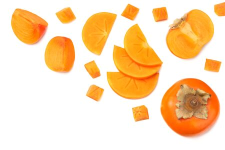 fresh ripe persimmons with slices isolated on white background. top view Фото со стока