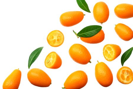 Cumquat or kumquat with leaves isolated on white background. top view Фото со стока