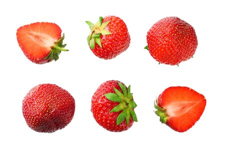 Sliced strawberry isolated on white background. Top view