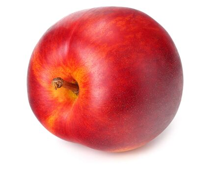 One nectarine isolated on a white background Stock Photo