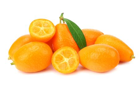 Cumquat or kumquat with slices and leaves isolated on white background