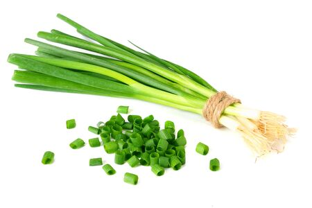 bunch of green onion isolated on white background