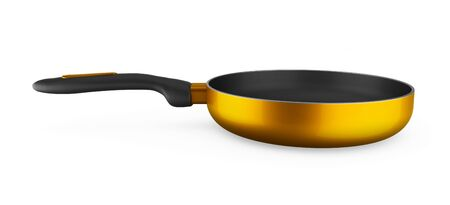 empty yellow fry pan isolated on white background. 3D rendering Imagens
